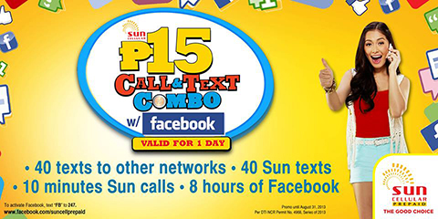 Sun Call & Text Combo 15 with Facebook promo