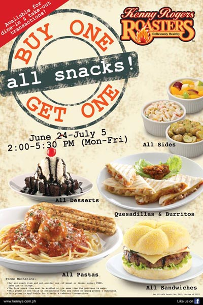 Kenny Rogers Roasters Buy 1 Get 1 On All Snacks Promo Unlipromo