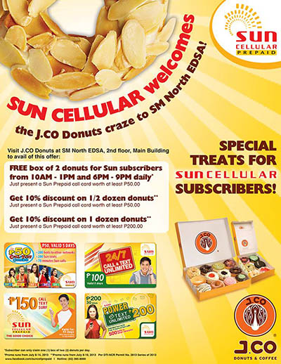 Sun Cellular FREE J.CO DONUTS Promo 2013