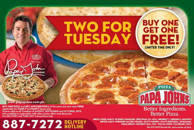 Through October 12th, Papa John's is offering Buy One Pizza, Get One Free when you use promo code OCTBOGO at checkout. Please note that this code may not .