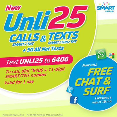 Smart Prepaid New UNLI CALL & TEXT 25 Plus FREE Chat and Surf