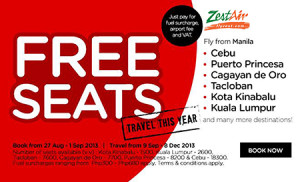 Zest Air FREE SEATS Promo