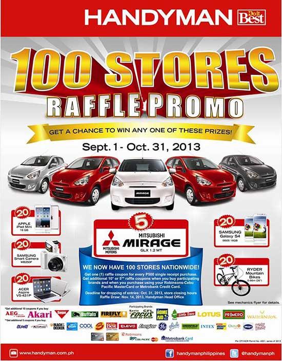 Handyman 100 Stores Raffle Promo Win Mitsubishi Mirage GLX and Exciting Gadgets | UnliPromo