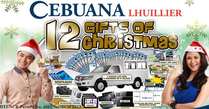 cebuana lhuillier 12 gifts of christmas promo 2013 win exciting prizes - 12 Gifts Of Christmas