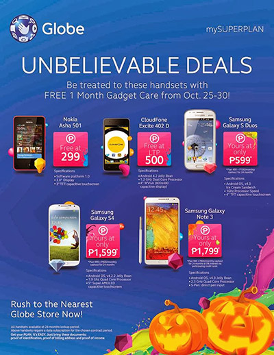 Get Samsung Galaxy S4 and Samsung Galaxy Note 3 at Globe Unbelievable Deals