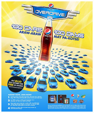 Pepsi Overdrive 100 Cars in 100 Days Raffle Promo - Win Mitsubishi Mirage