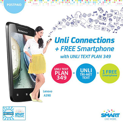 SMART Postpaid Unli Text Plan 349 with FREE Lenovo A390 or Alcatel Inspire 2