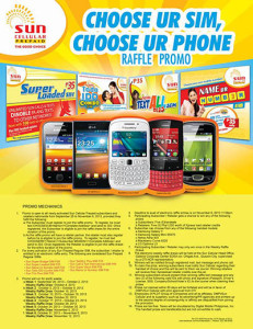 Sun Prepaid Choose Ur Sim, Choose Ur Phone Raffle Promo 2013
