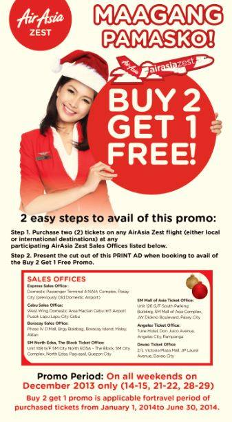 Air Asia Philippines Buy 2 Get 1 FREE Seat Promo