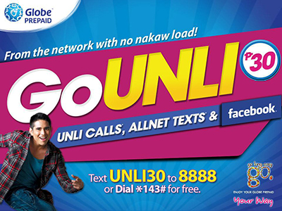 Globe Unli Call and Text - Unli30, Unli80, Unli180 and Unli750