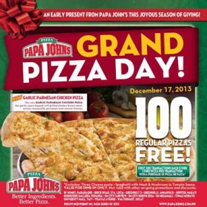 Papa Johns Pizza Grand Pizza Day - FREE 100 Regular PIZZAS