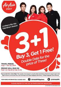 AirAsia 3 plus 1 Valentines Promo