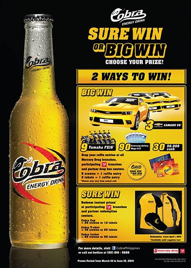 Cobra Energy Drink SURE WIN or BIG WIN Promo 2014 - Mechanics and Prizes