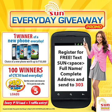 Sun Everyday Giveaway Promo 2014 Mechanics