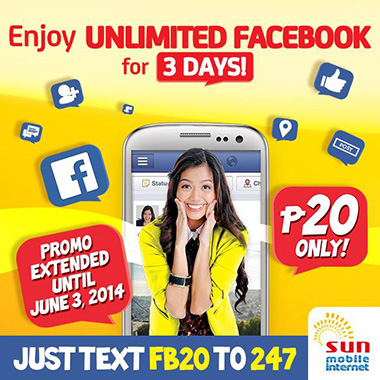 SUN Mobile Internet extends Unlimited Facebook for 3Days
