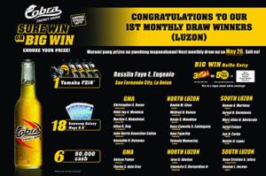 Cobra Sure Win or Big Win Promo Luzon Winners