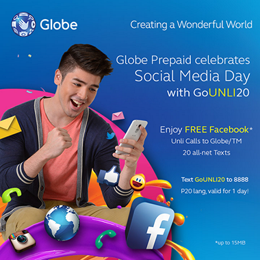 FREE Facebook with Globe Prepaid GoUNLI20 Promo