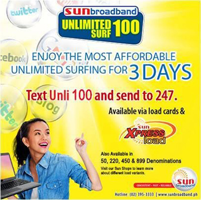 Sun Unlimited Surf Promo for Sun Broadband