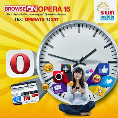 Unlimited Mobile Internet using SUN CELLULAR Opera Mini Browser