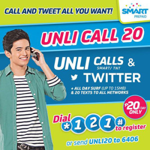 Smart Prepaid Unli20 Promo - the unlimited calls and all-day Twitter promo