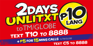 TM TXT10 Promo Unlimited Text for 2 days to TM and GLOBE