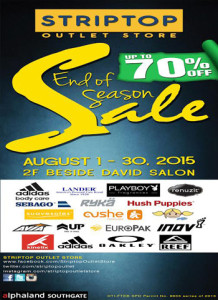 End of Season Sale at Striptop Outlet Store in Alphaland Southgate Mall www_unlirpromo_com