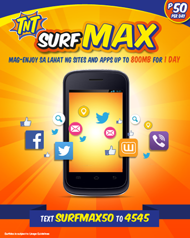 Talk N Text offers Surf Max 50 Surf Max 299 and Surf Max 999 UnliPromo_com